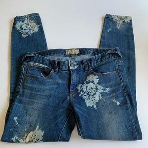 Free People floral printed ankle skinny jeans 27